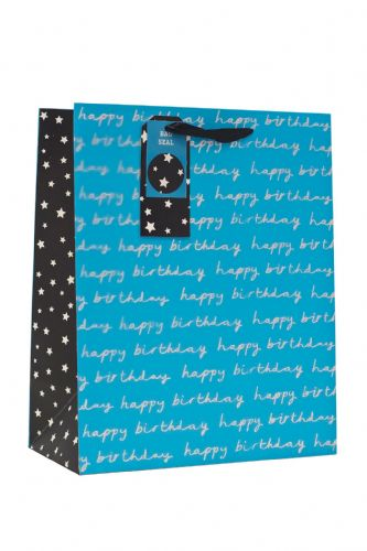 Blue Happy Birthday Large Gift Bag